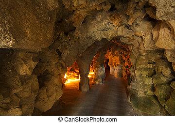 underground cave passage - View of a underground cave...