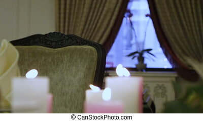 Luxurious interior - Focus to a window on the candle...