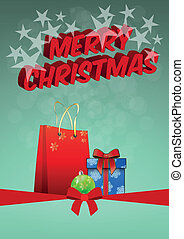 christmas box - illustration of christmas gift with silk...