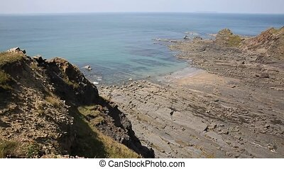 Rock strata on rocky beach - Hartland Point peninsula near...