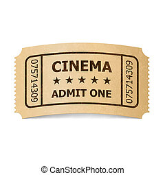 Cinema ticket. - Retro style cinema ticket isolated on...