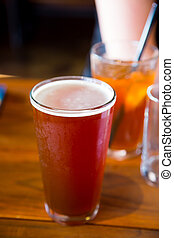 Red Ale Craft Beer Full - A red ale craft beer at a local...