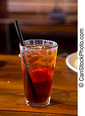 Long Island Ice Tea - A long island iced tea on the bar at a...