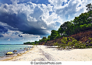 Beautiful Baltic sandy beach and dramatic clouds - Beautiful...