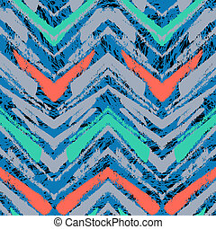Hand drawn pattern with brushed zigzag line. - Multicolor...