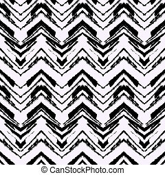 Hand drawn pattern with brushed zigzag line. - Black and...