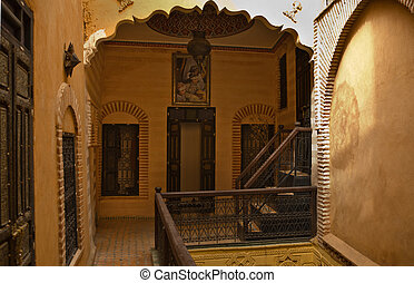 Riad court - Interior view of an arabian Riad with...