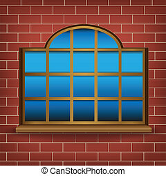 large window - The large wooden window on mesh wall...