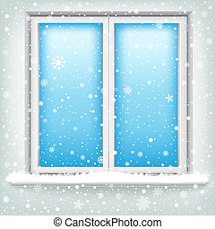 window and snow - The plastic window and falling snow,...