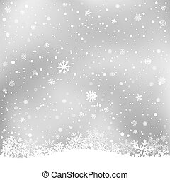 winter gray background - The white snow on the soft light...