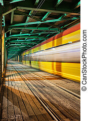 Abstract Tram Light Trail on a Bridge - Abstract tram light...