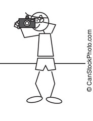 stick figure photographer - Stick figure of a boy taking a...