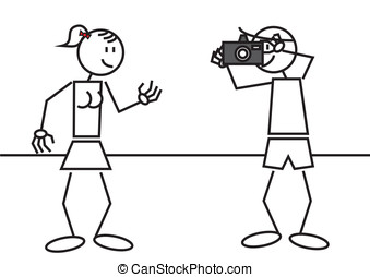 stick figure taking a picture - Stick figures of a...