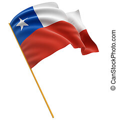 3D Chilean flag with fabric surface texture. White...
