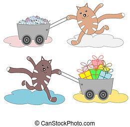 Funny cats running with shopping carts