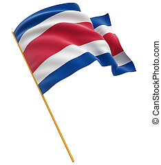 3D Costa rica flag with fabric surface texture. White...