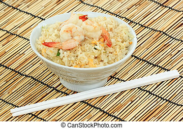 stirfried rice with shrimp in white bowl
