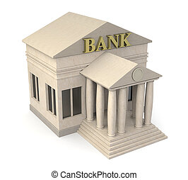 bank building - top view of a bank building 3d render
