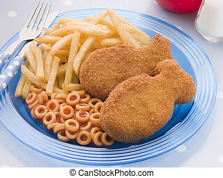 Fish Cakes with Spaghetti Hoops and Chips