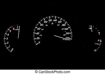 High Speed Car Gauge Display Isolated on Black - Speeding...