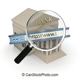 online banking - one bank building with an internet browser...