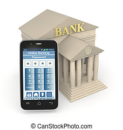 online banking - one bank building and a smartphone with an...