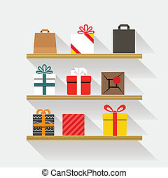 Flat design gifts on book shelves. Template for a content