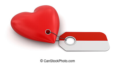 Heart with Indonesian flag Image with clipping path