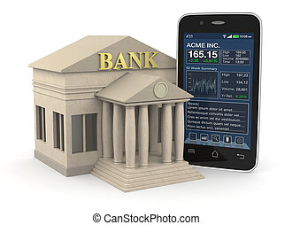 online banking - one bank building and a smartphone with a...