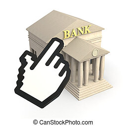 online banking - one bank building and a cursor icon,...