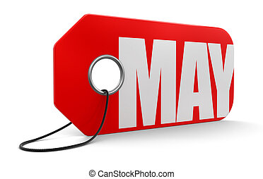 Label with May  - Label with May. Image with clipping path