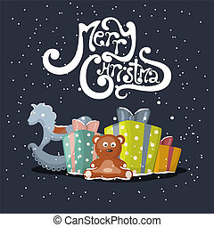 Merry Christmas - Vector xmas greeting card with gift boxes...