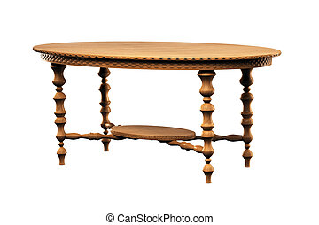Table isolated over white 3d - Wood Table isolated over...