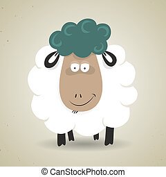 Cute cartoon smiling sheep standing facing the camera -...