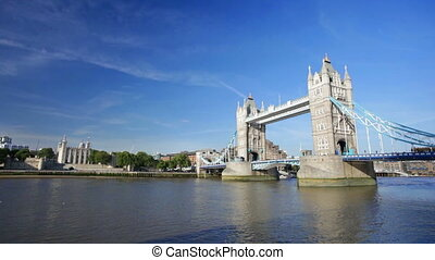 Tower Bridge in London - The Tower Bridge in London with...