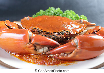 Singapore chili mud crab in restaurant