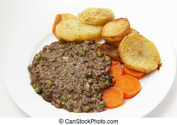 Mince with peas meal high angle view - Minced beef cooked...