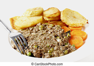 Minced beef and peas dinner high key - High key shot of...