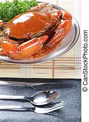 Singapore chili mud crab in restaurant
