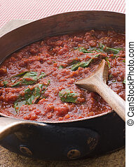 Pan of Fresh Tomato Sauce