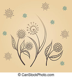 Background with doodles flowers.
