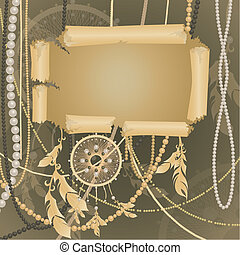 Abstract template - Template parchment, feathers, beads and...