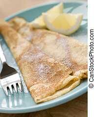 Folded Pancakes with Lemon and Sugar