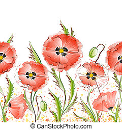Seamless Texture with Red Poppy Flowers
