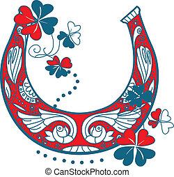 Horseshoe and four leaf clover - luck symbols horseshoe and...
