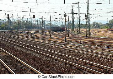 Railway - Many railway tracks with freight wagons