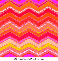 Hand drawn zigzag pattern in tropical coral red. - Hand...