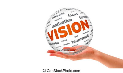 Vision word Sphere - A person holding a 3d Vision word...
