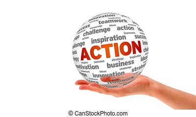 Action word Sphere - A person holding a 3d Action word...