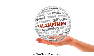 Alzheimer Word Shere - A person holding a 3d Alzheimer word...